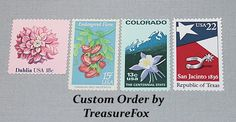 Reserved Custom Order for Carolyn .. Unused Vintage US Postage Stamps by TreasureFox on Etsy
