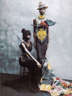The womens corsets here are representative of the corsets worn by the male Dinka in the Sudan.