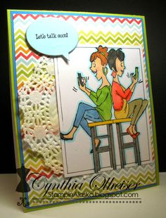 """Texting BFFs""  Art Impressions young girlfriends.  Handmade friendship card."