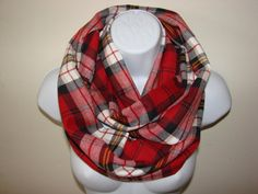 red back plaid infinity scarf flannel infinity by OtiliaBoutique Plaid Infinity Scarf, Plaid Scarf, Autumn Winter Fashion, Fall Winter, Flannel, Unisex, Trending Outfits, Red, Etsy