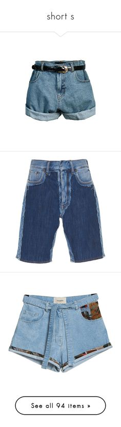 """""""short s"""" by trendybb ❤ liked on Polyvore featuring shorts, bottoms, pants, short, retro shorts, highwaist shorts, high-waisted shorts, oversized shorts, high waisted short shorts and blue"""