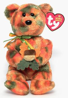 Leaves, Ty Beanie Baby bear reference information and photograph. Beanie Baby Bears, Ty Beanie Boos, Ty Babies, Beenie Babies, Buddy Holiday, Ty Stuffed Animals, Ty Bears, Cute Beanies, Beanie Buddies