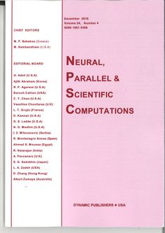 Neural, Parallel & Scientific Computations, Vol 24, nº 4, Diciembre 2016