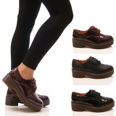 LADIES WOMENS CHUNKY SOLE BROGUES LACE UP VINTAGE GEEK FASHION SHOES SIZE in Clothes, Shoes & Accessories, Women's Shoes, Flats | eBay
