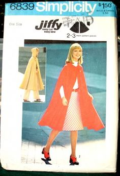 Simplicity  6839 Vintage Pattern - A little long on me, but great width. Might be a good pattern for that waterproof favric I've got, if shortened.