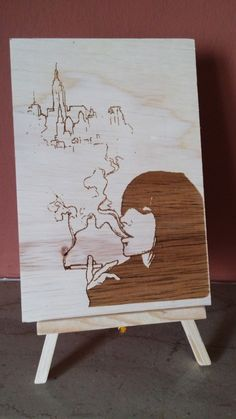 "Handmade wooden picture with easel ""smoke girl"" by KesisArtGR on Etsy"