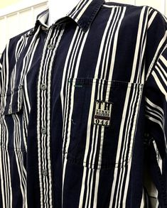 950900477 Vintage Tommy Hilfiger L Nautical Shirt Patch Long Sleeve Distressed Striped   TommyHilfiger  ButtonFront Nautical