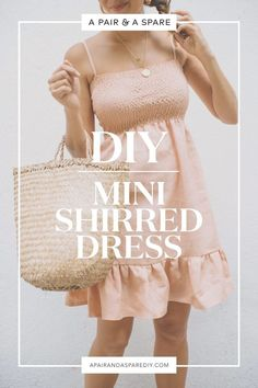 DIY Shirred Mini Dress (Perfect for Holiday Parties!) This shirred style has the elegance of a fitted dress without having to work out all those circular angles. Read on how to make this DIY shirred mini dress! Diy Clothing, Sewing Clothes, Dress Patterns, Sewing Patterns, Diy Clothes Patterns, Diy Fashion Projects, Fashion Ideas, Diy Kleidung, Mini Robes