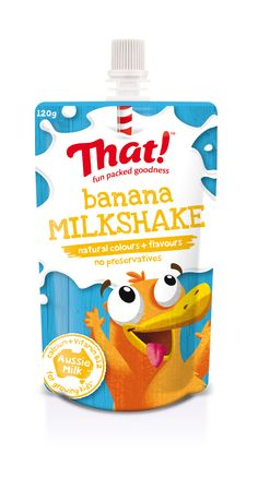 That! Milkshake banana - packed with the goodness of Aussie milk. In a squeezy on-the-go pouch, a perfect kids lunchbox idea