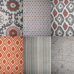 NEW Rosa Orange Gray Beige Geometric 84 Shower Curtain Linen Textured