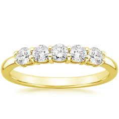 Five Diamond Wedding Ring - 18K Yellow Gold