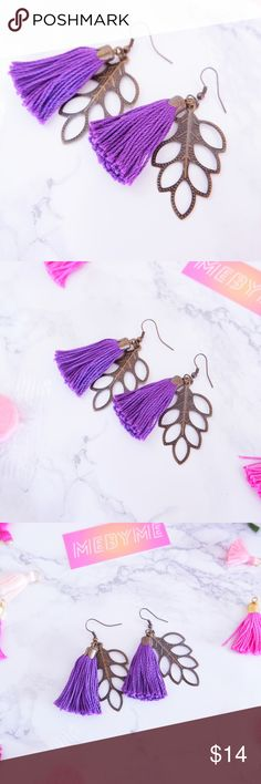 MEBYME Tassel Leaves Earrings Purple Brand: MEBYME Size: 2 1/2 inches Material: Alloy Metal, Cotton Tassel Color: Antique Bronze, Purple Style: Handmade Earrings No trades  Same or Next day Shipping MEBYME Jewelry Earrings