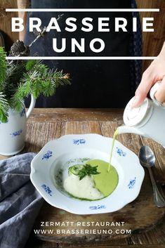 Brasserie Uno Menu: Restaurant in Zermatt: Creative cooking, fresh flavours, excellent service. Olive Oil Ice Cream, Alps Switzerland, Porcini Mushrooms, Course Meal, Tasting Menu, Zermatt, Seasonal Food, Pumpkin Soup, Swiss Alps