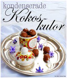 Foto: Karin / bevemyrs bloggDet här hemlagade godiset är oooootroligt gott!!! Gjorda på kondenserad mjölk, smör, kokos, socker och choklad! Smakar lite som en adligare variant av köpegodiset Bounty…