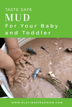 Make this taste safe, edible mud for your toddler for some sensory play! Make this taste safe, edible mud for your toddler for some sensory play! Edible Sensory Play, Sensory Play Recipes, Baby Sensory Play, Sensory Activities Toddlers, Infant Activities, Sensory Table, Sensory Play For Toddlers, Baby Room Activities, Water Play Activities