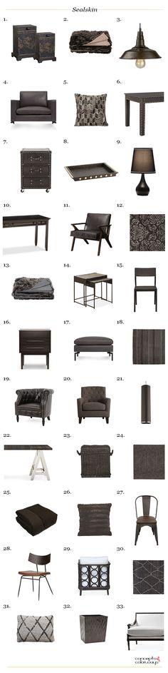 sherwin williams sealskin, interior product roundup, get the look, brownish-black, blackish-brown, dark bronze, dark brown, color for interiors, warm black