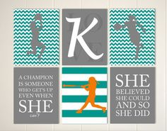 Motivational sports quotes art, girls basketball art, softball wall art, set of 6 by PicabooArtStudio on Etsy-- just need volleyball & we're set!
