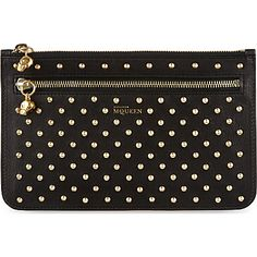 ALEXANDER MCQUEEN Double zip leather stud pouch (Black gold multi