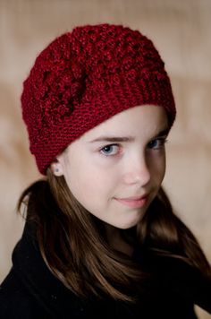 Deep Red Bobble Beanie on Etsy $20