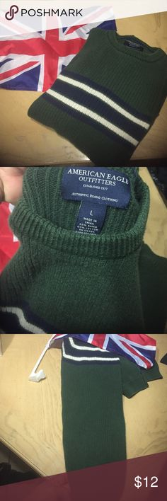American Eagle Outfitters large sweater American Eagle Outfitters large sweater olive green blue white not new American Eagle Outfitters Sweaters