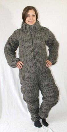 Thick extra scratchy itchy catsuit chunky big turtleneck thick knit pur  wool jumpsuit hand knitted for mens by Strickolino