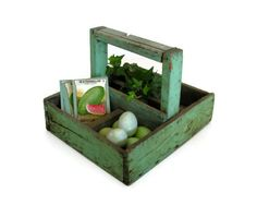 Your place to buy and sell all things handmade Old Wooden Crates, Pallet Crates, Pallets, Custom Woodworking, Woodworking Projects Plans, Basket And Robins, Old Tool Boxes, Vintage Seed Packets, Garden Basket
