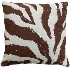 Graphic Zebra Screen Print Linen Throw Pillow