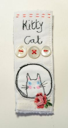 BROOCH or Pin  free machine embroidered Kitty Cat by hensteeth