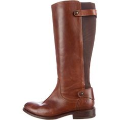 Frye Jayden Gore Riding Boots (185 CAD) ❤ liked on Polyvore featuring shoes, boots, brown, brown riding boots, riding boots, knee high boots, leather boots and genuine leather boots
