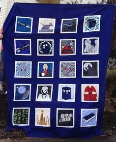 Awesome Doctor Who quilt! (It was part of a quilt along and patterns for all of the blocks are free.) I want to make this so badly.