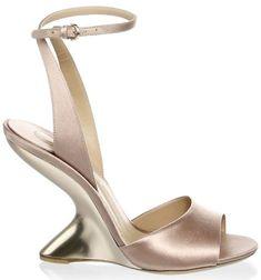 3218254348d7e Gabrielle Union Clownish in Salvatore Ferragamo 'Arsina' Sculptural-Heel  Satin Wedge Sandals