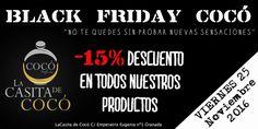 """""""LLEGA EL BLACK FRIDAY COCÓ"""" TODOS NUESTROS PRODUCTOS CON UN 15% DE DESCUENTO. """"NO TE LO PUEDES PERDER"""" #BlackFridayGranada #descuentosgranada #lacasitadecoco #BlackFridayGranada #Nevada #TiendasGranada #Shopping #Perfumeria #Perfumes #Cosmetica #Regalos"""