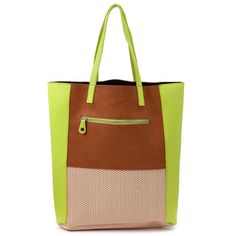 Pieces Milie Neon Green and Brown Shopper Bag ($46) ❤ liked on Polyvore