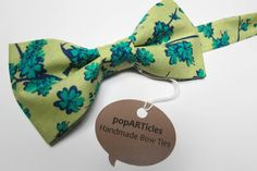 Teal Floral Bow Tie Avocado Floral Bow Tie Handmade by popARTicles, $28.00