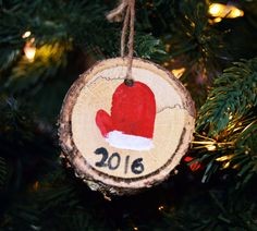 Wood slice ornament, 2016  ornament, hand painted ornament, mitten ornament, wood ornament, Christmas ornament, tree branch ornament by Artfulcastle on Etsy