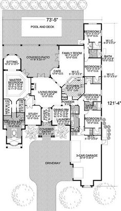 Plan Five Versions to Choose Plan Mediterranean Nice floor plan. Make bedrooms 2 and 3 the MIL suite with small kitchen (frig,stove,sink) and sitting room. The kids can have rooms 4 and All that's missing is a mudroom! The Plan, How To Plan, Dream House Plans, House Floor Plans, My Dream Home, Mediterranean Homes, Waterfront Homes, House Layouts, Future House