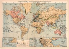 World map  Decorative map  Old wall map  20 x 28  by AncientShades, $43.00