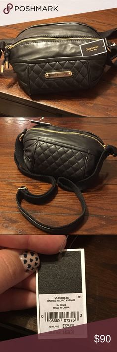 Juicy couture cross-body purse Black leather Juciy Couture cross-body purse. Never been used, brand new, excellent condition. Paid $159 in outlet store, still with tags, authentic item! Juicy Couture Bags Crossbody Bags