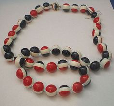 Red, White, Navy Blue Plastic Bead Necklace
