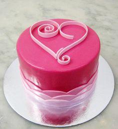 Hot Pink Heart Cake