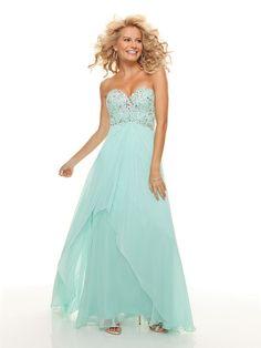 A-line Sweetheart Chiffon Floor-length Sleeveless Rhinestone Prom Dresses at dressestylish