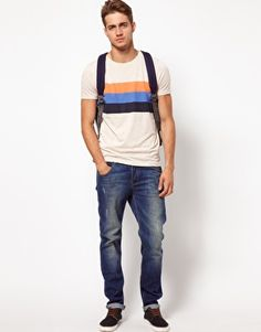 He has a black backpack and everything    ASOS | ASOS T-Shirt With Chest Stripe at ASOS