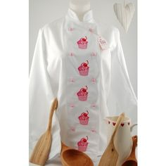 CUPCAKE White Chef's Jacket with long sleeves found on Polyvore