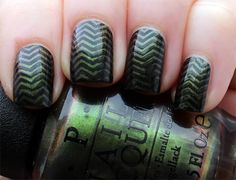 OPI Green on the Runway Chevrons | Lindsey's Lacquer
