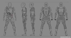 Sci-fi/cyberpunk modular armor design commish by Klerych on DeviantArt Character Design Tutorial, Character Design Girl, Character Design References, Character Design Inspiration, Character Model Sheet, Character Modeling, Character Concept, Game Concept Art, Armor Concept