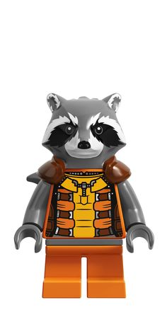 Rocket Raccoon is a Marvel Super Heroes minifigure that first appeared in LEGO Marvel Super Heroes. Orange Outfits, Spiderman, Batman, Lego Minecraft, Lego Disney, Rocket Raccoon Movie, Age Of Ultron, Legos, Marvel Dc