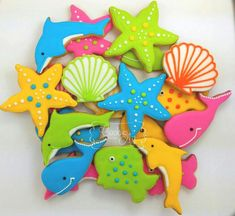Under The Sea | Cookie Connection Iced Cookies, Cute Cookies, Cupcake Cookies, Cupcakes, Fancy Cookies, Starfish Cookies, Mermaid Cookies, Cookie Frosting, Royal Icing Cookies