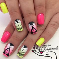 Candy colored abstract nail art design. Using matte and gradient effects. Patterns are drawn on top of the gradient colored nails using black polish to complete the abstract effect.