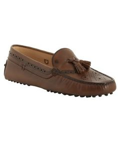 Tod's     brown leather tooled driving loafers -the best