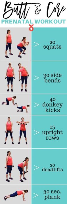 Butt and core pregnancy workout with instructions and photos - PreNatal Pilates & Yoga - Schwanger Baby Workout, Prenatal Workout, Belly Fat Workout, Workout Tips, Week Workout, Workout Postpartum, Prenatal Yoga, Exercise During Pregnancy, Pregnancy Health